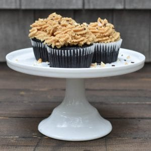 Chocolate Coca-Cola Cupcakes with Salted Peanut Butter Buttercream Frosting