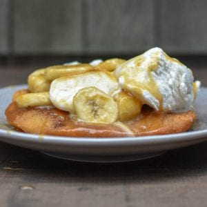 Indian Fry Bread with Bananas Caramel Sauce