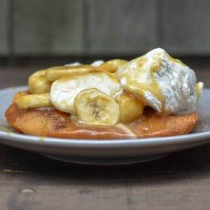 Indian Fry Bread with Bananas Caramel Sauce