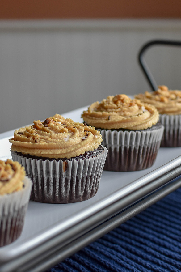 Chocolate Coca-Cola Salted Peanut Butter Buttercream Cupcakes